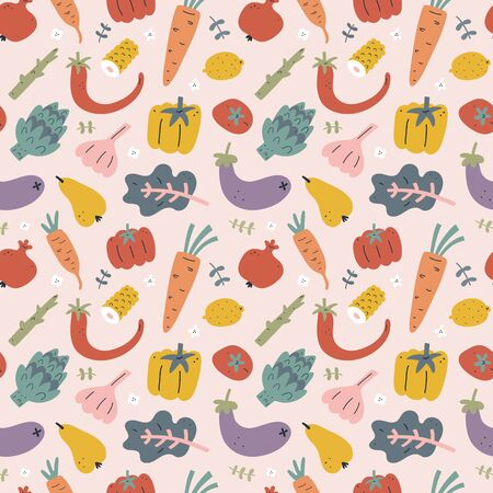 Vegetables seamless pattern, food ornament with fruits, foods ingredients illustrations, hand drawn print for kitchen tablecloth or wrapping paper with hand drawn pepper. tomato, asparagus