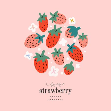 Strawberry arrangement, cute hand drawn doodle strawberries, vector flat illustration, modern design template with place for text, good as greeting card, packaging or banner, round composition