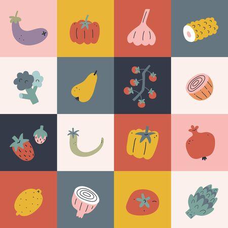 Food pop art poster, vegetable and fruit hand drawn illustration, square blocks with pepper, tomato, pear fruits, modern kitchen print decoration, artwork for interior design 向量圖像