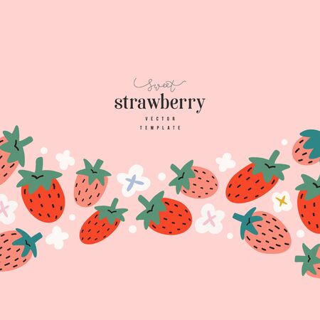 Strawberry card template, modern elegant design with blank space for message, hand drawn illustration of red berries with white flowers, good for banner,card, packaging or invitation Ilustração