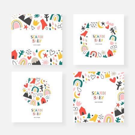 Scandinavian baby cards collection, set of vector frames, borders and wreaths with copy space, abstract doodle shapes, modern minimalist design, handdrawn rainbows, clouds and mountains Ilustração