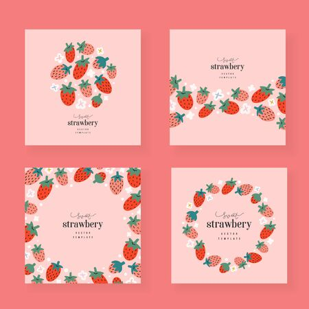 Strawberry cards set, vector templates with copy space, collection of wreaths, arrangements border frames, trendy hand drawn illustration, good as card, invitation, banner, menu, flyer cover.