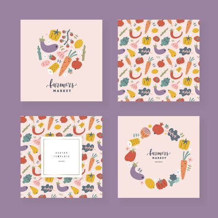 Vegetables card set, collection of vector templates with illustrations of various fruits and veggies, design for invitation, farmers market poster or label, Vector borders and frames with copy space Ilustração