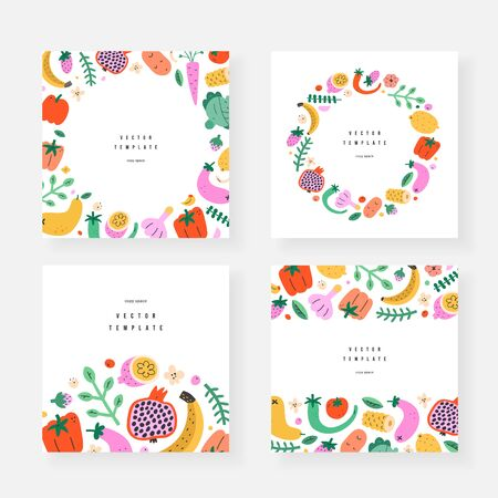 Vegetables frames templates, set of invitation or greeting card, copy space backgrounds, borders and wreaths with fruits food illustrations, vector arrangements, good as menu cover, label