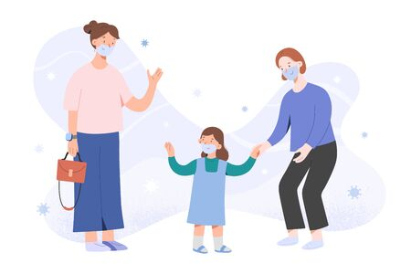 Mother taking child to kindergarten after coronavirus pandemic, waving goodbye, girl and nanny in face masks, children go back to school after covid concept, vector flat cartoon characters