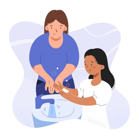 Girl washing hands with soap with her mother or nanny showing how to wash hands properly together with adult, kindergarten scene, hygiene protection against coronavirus, vector illustration Ilustração