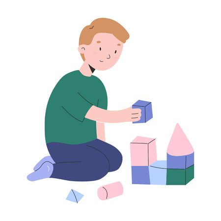 Little boy playing with cubes, toddler boys building a tower with wooden bricks, kindergarten activities, cute modern cartoon chracters, vector illustration
