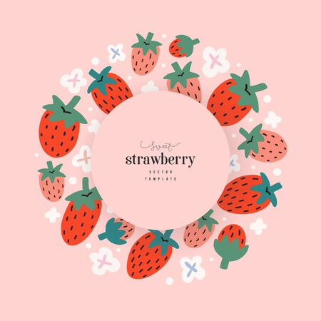 Strawberry template for packaging design with copy space for company logo, modern hand drawn illustration of fresh summer red berries, circle arrangement, round composition, good for tea or dessert Ilustração