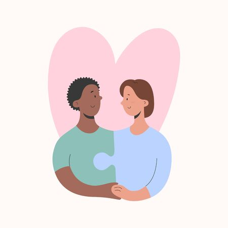 Lesbian couple love concept, two women match each other like puzzle pieces, Homosexual relationship, girlfriends hugging, female LGBT partners, vector cartoon illustration, good as poster or card
