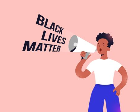 Black lives matter protester, young african american women standing with megaphone speaker and shouting slogan, fighting for human rights and equality concept, vector cartoon character Ilustração