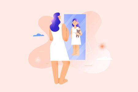 Woman seeing herself as child girl in mirror reflexion, inner child psychology therapy concept, inner child concept, childlike behaviour, mental health psychotherapy, modern vector illustration