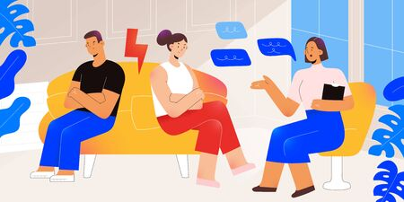 Couple on family psychotherapy counseling, woman and man getting psychological help, breaking relationship, psychologist talking to patient, modern cartoon illustration, vector characters