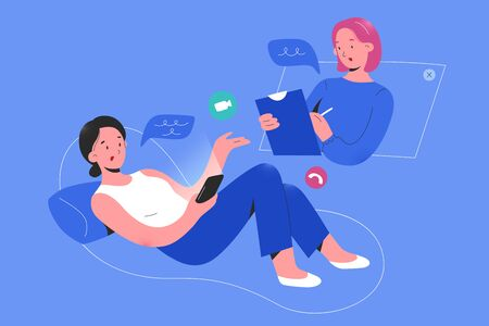Online psychologist consulting a woman patient via smartphone app video call, psychotheraphy service, online psychological help service, therapy session, flat vector cartoon illustration