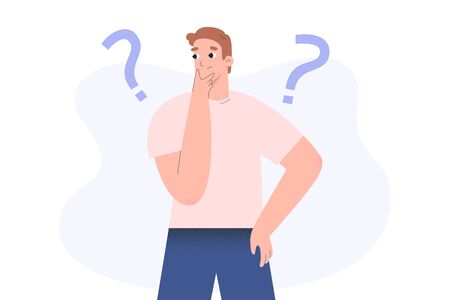 Confused person, guy thinking and solving a problem, young troubled man with question mark, flat vector illustration, puzzled character Ilustração