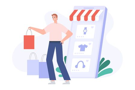 Online shopping concept, happy customer with shopping bags, delivered orders, smartphone screen with goods, online store app for e-shopping from home, flat vector cartoon illustration
