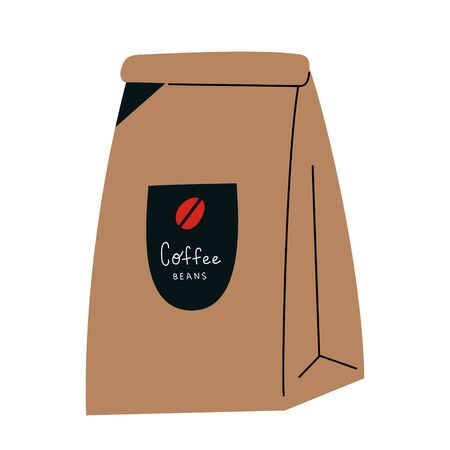Coffee paper craft bag, sachet for coffee beans or grinded blend, coffee shop packaging, isolated vector illustration, colored icon on white background Ilustração