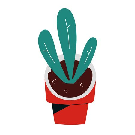 Doodle plant in ceramic pot, abstract potted houseplant, indoor flowerpot, isolated vector icon Ilustração