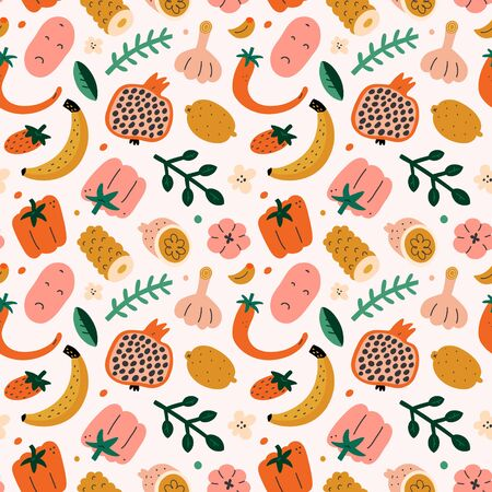 Fruit mix pattern, summer sweet food background, seamless vector texture, pomegranate, lemon and tropical fruit, cute doodle drawing, bright fashion print, modern trendy colorful backdrop Ilustração