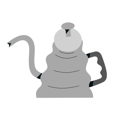 Pour Over Coffee Kettle, stainless steel gooseneck pot for brewing drip coffee, kitchenware or coffee shop tool, barista design, vector icon isolated on white background