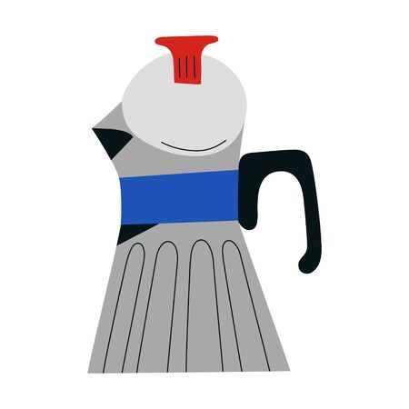 Vintage coffee maker, classic steel stovetop coffeemaker, pot or kettle for brewing espresso coffee, retro old-fashioned design with handle, isolated vector illustration, doodle artwork, flat icon  イラスト・ベクター素材