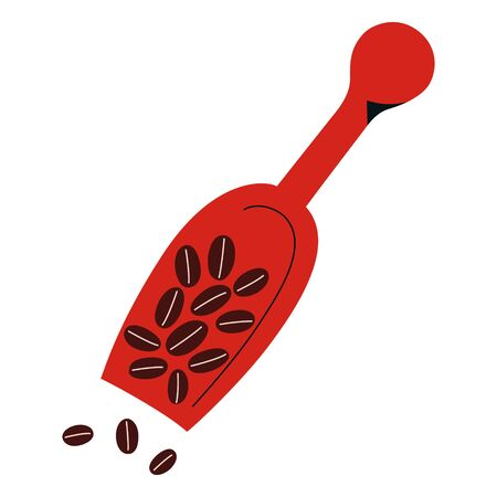 Coffee scoop with coffee beans pile, utensil for coffee shop, kitchenware, wooden blade, isolated icon, hand drawn doodle vector illustration