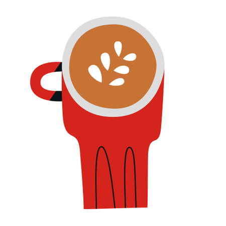Cappuccino doodle cup, red mug with capuccino coffee drink with milk foam, hand drawn icon, isolated vector illustration