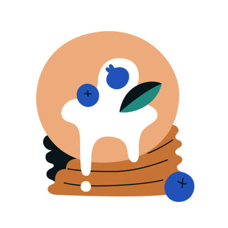 Stack of pancakes decorated with berries and syrup, isolated flat doodle icon, food hand drawn illustration, tasty breakfast, object on white background.  イラスト・ベクター素材