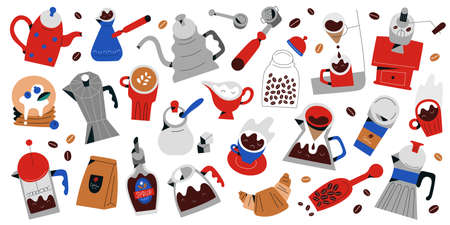 Big coffee set, hand drawn icons, tools, utensils for coffee drinks preparation and brewing, cups and mugs, pots and desserts, isolated objects, flat illustrations, doodle collection