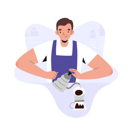 Barista young man making pour over coffee, brewing espresso in coffee shop, flat vector illustration, cartoon character waiter wearing apron, preparing hot coffee drink with coffeemaker filter dripper.