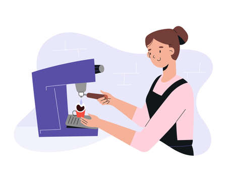 Female barista making coffee, preparing espresso standing in front of professional coffee machine, young woman working in coffee shop or cafe in apron, vector cartoon illustration, flat hand drawn art  イラスト・ベクター素材