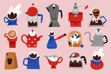 Coffee icons set, vector illustrations of utensils and tools for brewing and serving coffee at coffee shop or cafe, moka pot, cappuccino cup, mugs and grinder, isolated clipart collection