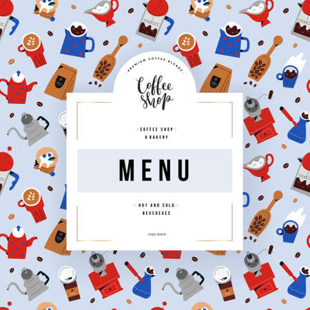 Coffee shop menu design, vector frame template with coffee drinks illustrations for restaurant menu cover, design with logo and copy space for text, trendy hand drawn doodle art,
