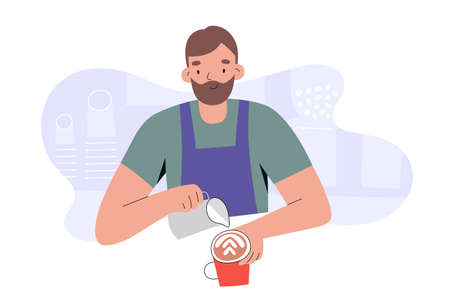 Barista character working in coffee shop or cafe, young man wearing apron and pouring whipped milk foam in a coffee mug, preparing cappuccino, flat vector cartoon illustration