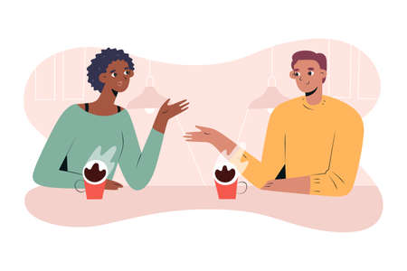 Interracial couple having coffee together in cafe or coffee shop, african girlfriend and white boyfriend on date, enjoing each others company, cartoon characters, vector illustration.