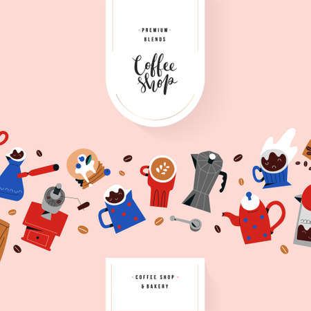 Coffee shop menu cover template with lettering, modern design with hand drawn doodle illustrations, restaurant or cafe menu, drawings of coffee mugs and cups, barista utensils