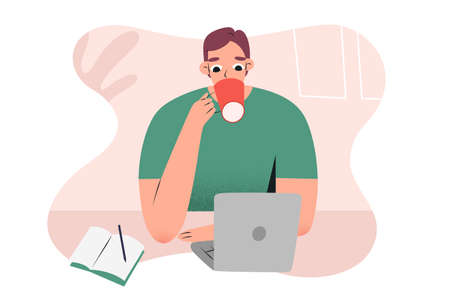 Young man working from home or cafe with notebook, laptop, drinking his coffee, making notes, caucasian guy character, vector illustration, concept of freelance job