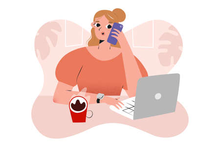 Young woman working in a cafe using laptop making phone calls, businesswoman at cafe or working from home, cute character, concept of freelance job, vector cartoon illustration, human character