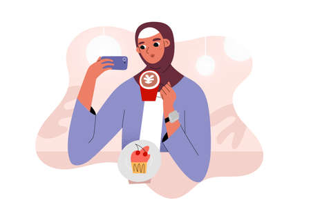 Arab girl in cafe taking a selfie with coffee mug, sitting at coffee shop table with dessert, female blogger taking photos, vector illustration, cartoon character