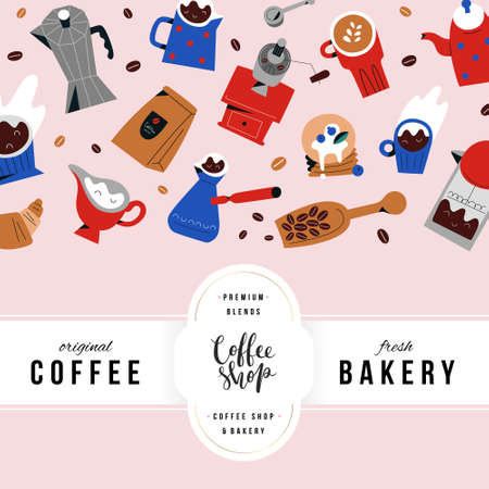 Coffee shop menu cover template with lettering , trendy design with hand drawn doodle illustrations, restaurant or bakery menu, drawings of coffee mugs and cups, barista utensils