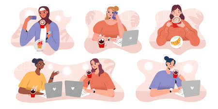 People drinking coffee in cafe or coffee shop, talking, working with laptop, taking selfie meeting for work, making phone calls, collection of vector illustrations, set of cartoon characters,  イラスト・ベクター素材