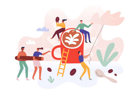 Tiny people team making coffee at coffeehouse, little humans teamwork, men and women, miniature characters carrying coffee beans, making milk foam, vector illustration, poster for cafe, modern concept