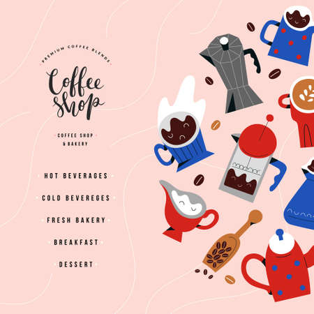 Coffee shop or bakery menu design, vector layout with doodle illustration, lettering logo label, square composition, drawings of cups, mugs, drinks and barista tools, modern cartoon style