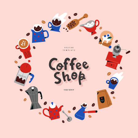 Coffee shop lettering logo with decorative circle frame, vector template made of hand drawn illustrations of barista tools and utensils, good as banner, menu design or poster  イラスト・ベクター素材