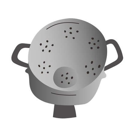 Doodle colander, perforated metal cullender to strain pasta or rinse vegetables. household utensil, isolated vector icon on white background, doodle handdrawn cartoon illustration  イラスト・ベクター素材
