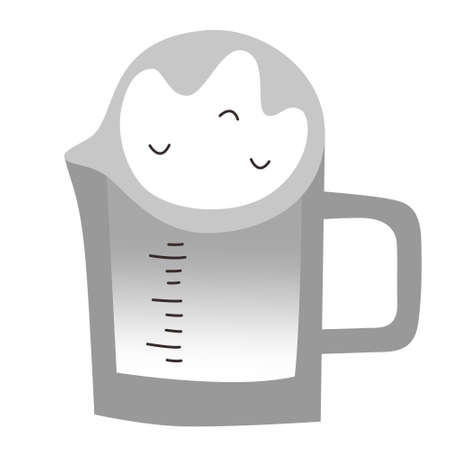 Milk measuring cup, glass milk jug, household utensil, isolated vector icon on white background, doodle hand drawn cartoon illustration  イラスト・ベクター素材