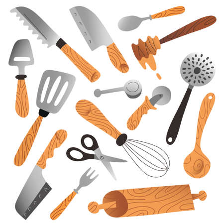 Kitchenware collection, isolated vector illustrations, cutlery, skimmers and knives, household tools and utensils for food preparation, hand drawn vector isolated cartoon illustration