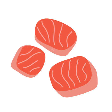 Salmon fillet cut in cube pieces, hand drawn art, uncooked sashimi redfish, illustration isolated, fresh raw fish, vector art on white background