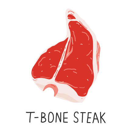 T-bone or porterhouse steak, raw meat, beef cut, isolated realistic vector illustration, good as icon or cafe, restaurant or butcher shop.