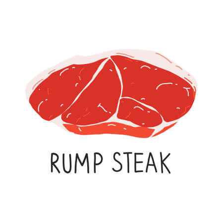 Raw rump steak isolated, uncooked meat, beef cut icon, realistic food illustration, vector art isolated on white backgroound, good for butcher shop.  イラスト・ベクター素材