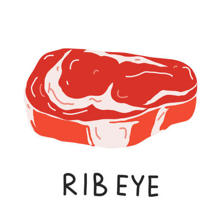 Rib eye steak, raw ribeye meat, uncooked beef cut piece, realistic vector illustration on white backgroound, good as icon for restaurant or butchery